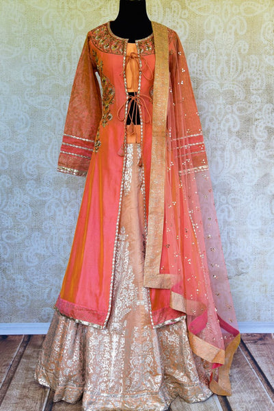 Buy peach gota patti kurta with chanderi silk skirt online in USA. Pure Elegance fashion store brings a stunning range of Indian formal dresses in USA for every occasion.-full view