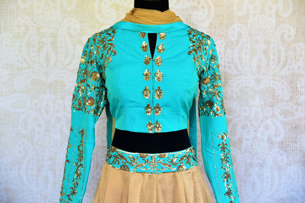 Buy blue and beige sequin embroidery silk lehenga with dupatta online in USA. Pure Elegance fashion store brings a stunning range of Indian wedding lehengas in USA.-blouse
