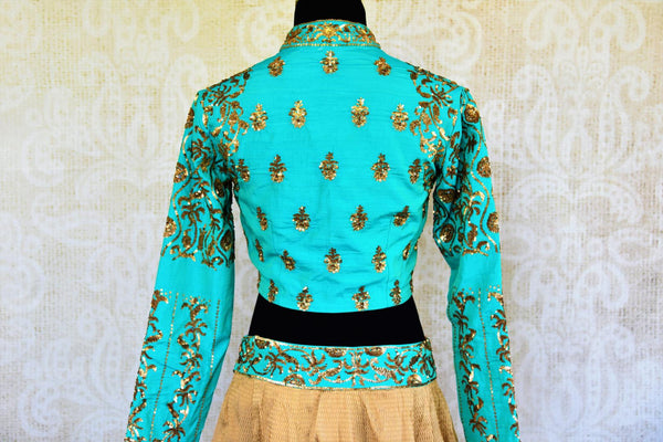 Buy blue and beige sequin embroidery silk lehenga with dupatta online in USA. Pure Elegance fashion store brings a stunning range of Indian wedding lehengas in USA.-blouse back