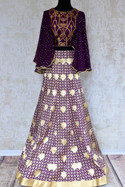 Buy Indowestern purple Banarasi crop top and skirt online in USA. Pure Elegance clothing store brings an exquisite range of Indian designer dresses in USA for women.-full view