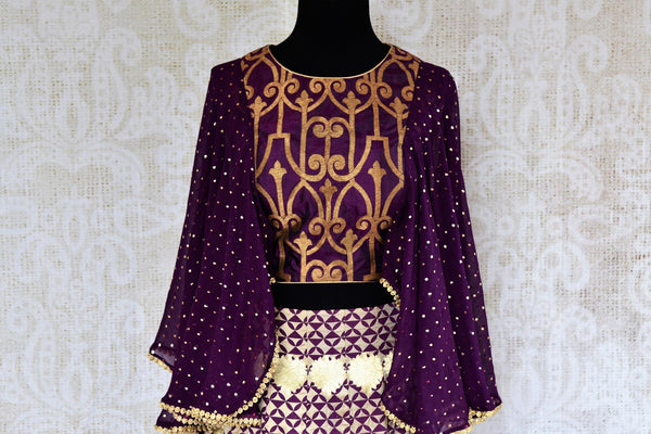 Buy Indowestern purple Banarasi crop top and skirt online in USA. Pure Elegance clothing store brings an exquisite range of Indian designer dresses in USA for women.- crop top