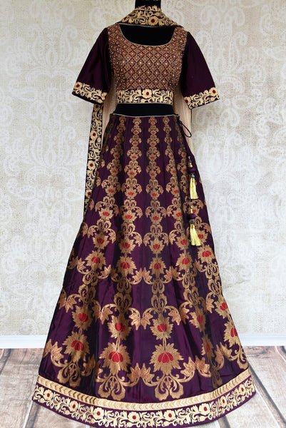 Buy traditional purple lehenga set with dupatta online in USA. Pure Elegance clothing store brings an exquisite range of Indian designer dresses in USA for women.-full view