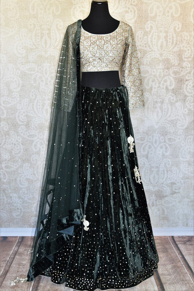 Buy black embroidered velvet lehenga online in USA with dupatta. The lehenga is perfect for rich Indian ethnic look at weddings. Make your Indian clothing collection exquisite with beautiful Indian designer lehengas available at Pure Elegance clothing store in USA or shop online.-full view