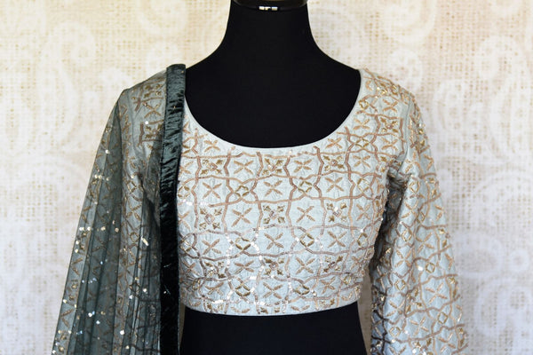 Buy black embroidered velvet lehenga online in USA with dupatta. The lehenga is perfect for rich Indian ethnic look at weddings. Make your Indian clothing collection exquisite with beautiful Indian designer lehengas available at Pure Elegance clothing store in USA or shop online.-blouse pallu