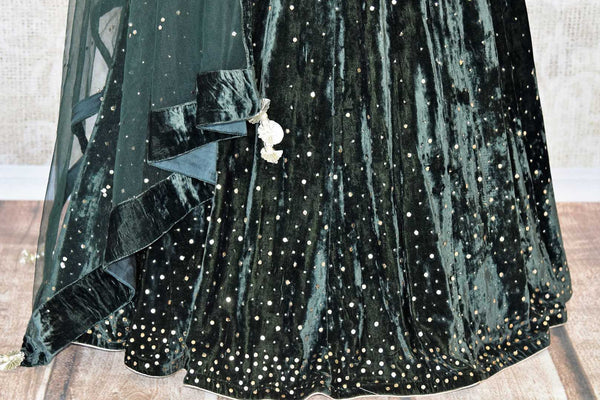 Buy black embroidered velvet lehenga online in USA with dupatta. The lehenga is perfect for rich Indian ethnic look at weddings. Make your Indian clothing collection exquisite with beautiful Indian designer lehengas available at Pure Elegance clothing store in USA or shop online.-lehenga skirt