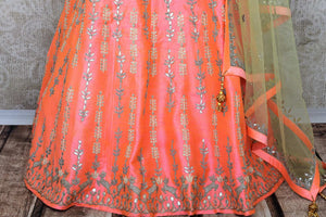 Buy soft pink raw silk gota patti embroidery lehenga with dupatta online in USA. Add brilliance to your Indian wedding look with an exquisite range of designer wedding lehengas available at Pure Elegance exclusive clothing store in USA or shop online.-skirt
