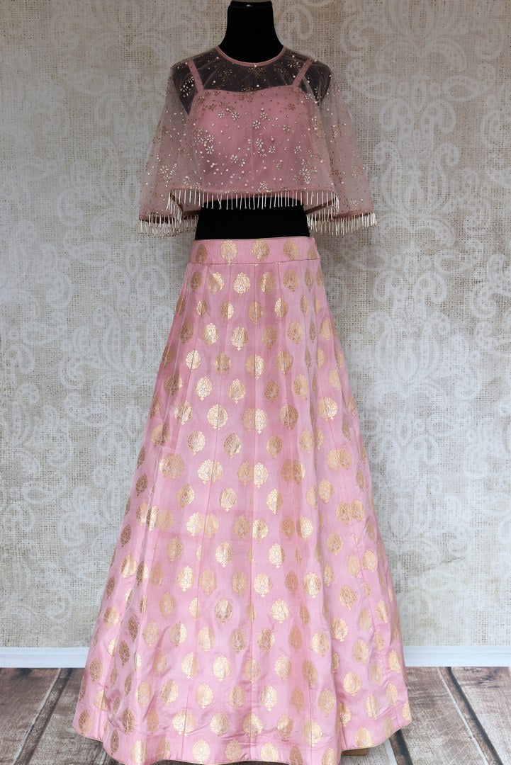 aa68b323a3 Buy pink Banarasi skirt with crop top online in USA. The stylish Indian  outfit is
