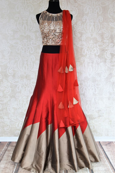 Buy red and grey embroidered designer lehenga with dupatta online in USA . The gorgeous lehenga is a captivating choice for weddings. Shop Indian wedding lehengas in USA from an alluring collection available at Pure Elegance clothing store.-full view