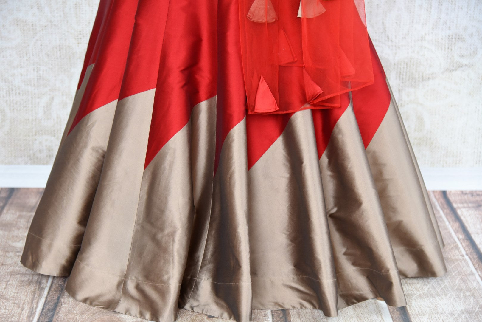 Buy red and grey embroidered designer lehenga with dupatta online in USA . The gorgeous lehenga is a captivating choice for weddings. Shop Indian wedding lehengas in USA from an alluring collection available at Pure Elegance clothing store.-skirt