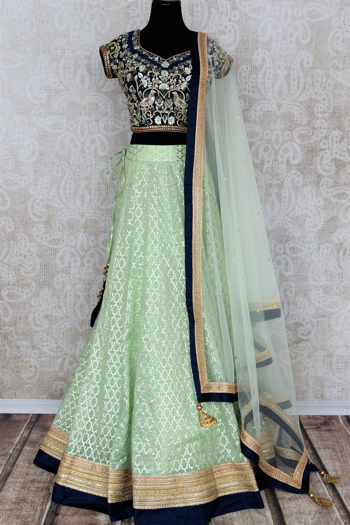 Buy pastel green and blue embroidered chanderi lehenga with dupatta online in USA. Add brilliance to your Indian wedding look with an exquisite range of designer wedding lehengas available at Pure Elegance exclusive clothing store in USA or shop online.-full view