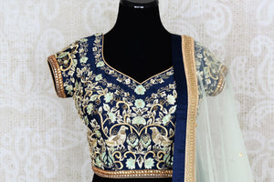 Buy pastel green and blue embroidered chanderi lehenga with dupatta online in USA. Add brilliance to your Indian wedding look with an exquisite range of designer wedding lehengas available at Pure Elegance exclusive clothing store in USA or shop online.-blouse front