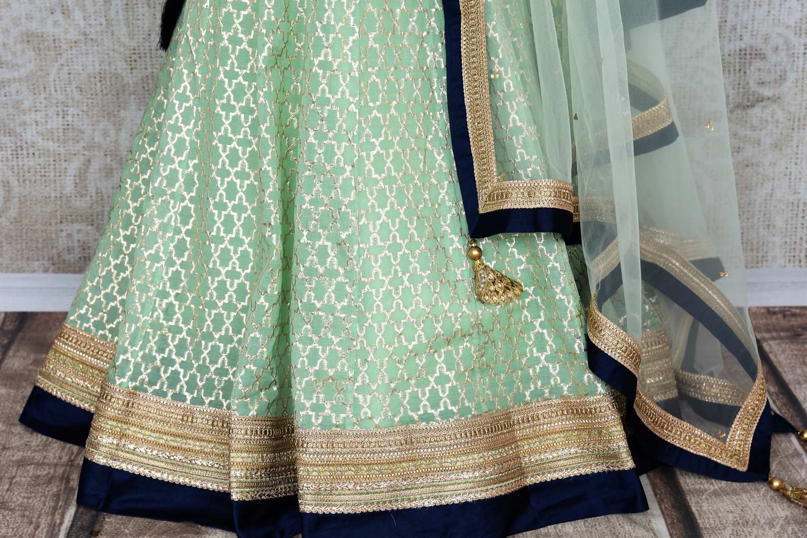 Buy pastel green and blue embroidered chanderi lehenga with dupatta online in USA. Add brilliance to your Indian wedding look with an exquisite range of designer wedding lehengas available at Pure Elegance exclusive clothing store in USA or shop online.-skirt