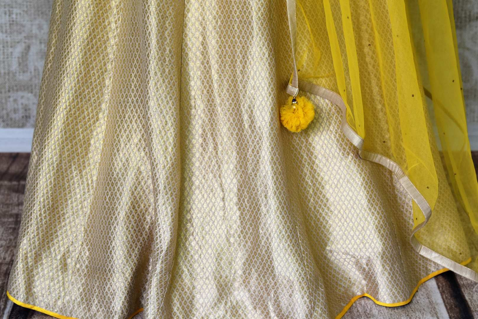 Buy yellow embroidered peplum kurti with skirt online in USA and dupatta. Make every occasion special by choosing the best of designer dresses from Pure Elegance Indian clothing store in USA, Shop from a range of stunning designer lehengas, wedding dresses, Indian clothing from our online store.-skirt