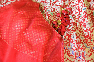 Buy red muga Banarasi lehenga online in USA with one shoulder choli. Make every occasion special by choosing the best of designer dresses from Pure Elegance Indian clothing store in USA, Shop from a range of stunning designer lehengas, wedding dresses, Indowestern dresses from our online store.-details