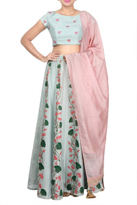 Shop beautiful pastel blue printed lehenga online in USA with pastel pink dupatta. Dazzle at weddings and special occasions in exquisite Indian designer suits, Anarkali suits, Indian wedding lehengas available at Pure Elegance clothing store in USA or shop online.-full view