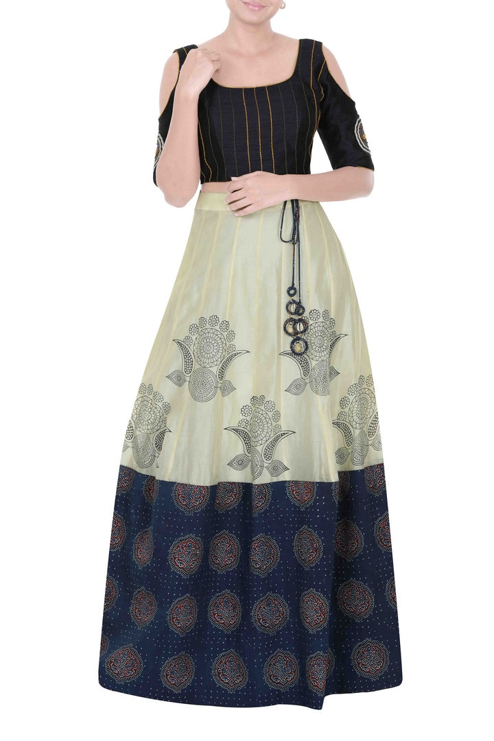 Buy midnight blue crop top with ajrakh print chanderi skirt online in USA. Dazzle at weddings and special occasions in exquisite Indian designer suits, Anarkali suits, Indian wedding lehengas available at Pure Elegance clothing store in USA or shop online.-full view