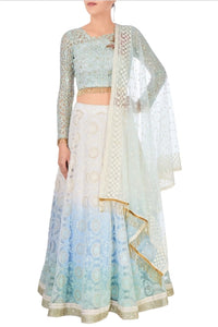 Buy pastel blue and white embroidered chanderi lehenga with net dupatta online in USA. Stand amongst the crowd with an exclusive range of Indian dresses, designer lehengas from Pure Elegance Indian fashion store in USA or shop online.-full view