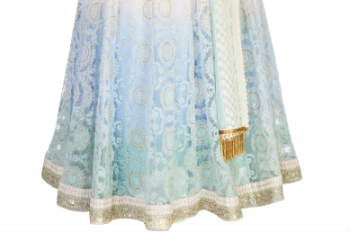 Buy pastel blue and white embroidered chanderi lehenga with net dupatta online in USA. Stand amongst the crowd with an exclusive range of Indian dresses, designer lehengas from Pure Elegance Indian fashion store in USA or shop online.-skirt