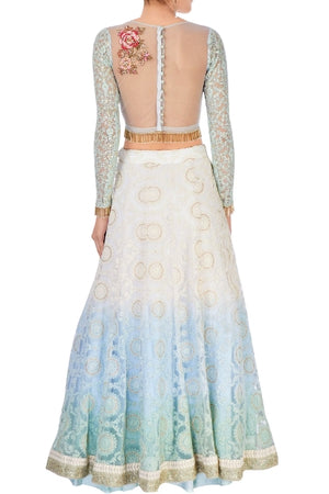 Buy pastel blue and white embroidered chanderi lehenga with net dupatta online in USA. Stand amongst the crowd with an exclusive range of Indian dresses, designer lehengas from Pure Elegance Indian fashion store in USA or shop online.-back