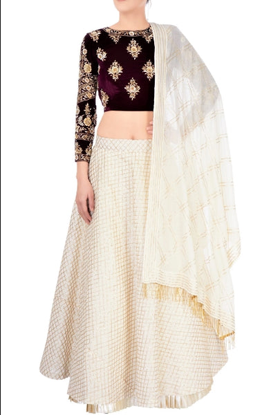 Buy off-white embroidered cotton lehenga online in USA with wine color velvet choli. Stand amongst the crowd with an exclusive range of Indian dresses, designer lehengas from Pure Elegance Indian fashion store in USA or shop online.-full view