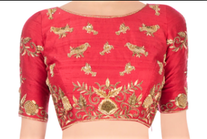 Buy off-white embroidered tule lehenga online in USA with raw silk red choli. Stand amongst the crowd with an exclusive range of Indian dresses, designer lehengas, Indowestern dresses from Pure Elegance Indian fashion store in USA or shop online.-blouse