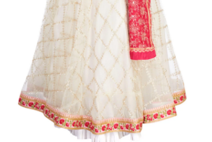 Buy off-white embroidered tule lehenga online in USA with raw silk red choli. Stand amongst the crowd with an exclusive range of Indian dresses, designer lehengas, Indowestern dresses from Pure Elegance Indian fashion store in USA or shop online.-skirt