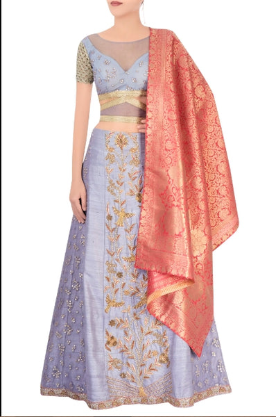 Buy grey zardozi embroidery lehenga with peach Banarasi dupatta online in USA. Grab those eyeballs at special occasions with an exclusive range of Indian dresses, designer lehengas from Pure Elegance Indian fashion store in USA or shop online.-full view