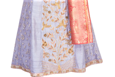 Buy grey zardozi embroidery lehenga with peach Banarasi dupatta online in USA. Grab those eyeballs at special occasions with an exclusive range of Indian dresses, designer lehengas from Pure Elegance Indian fashion store in USA or shop online.-skirt