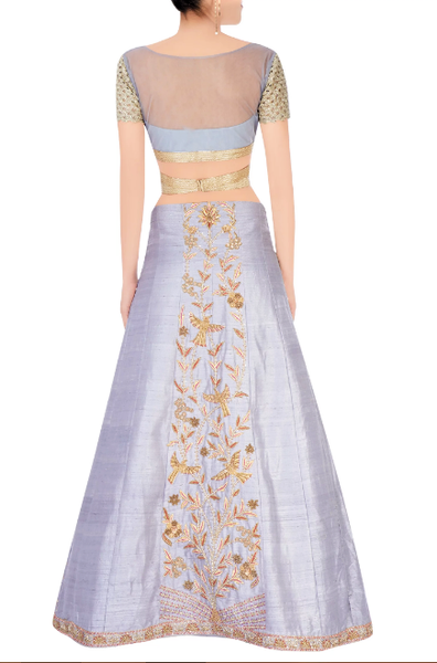 Buy grey zardozi embroidery lehenga with peach Banarasi dupatta online in USA. Grab those eyeballs at special occasions with an exclusive range of Indian dresses, designer lehengas from Pure Elegance Indian fashion store in USA or shop online.-back