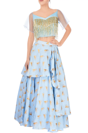 Buy pastel blue layered lehenga online in USA with sweetheart neck crop top. Grab those eyeballs at special occasions with an exclusive range of Indian dresses, designer lehengas from Pure Elegance Indian fashion store in USA or shop online.-full view