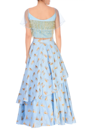 Buy pastel blue layered lehenga online in USA with sweetheart neck crop top. Grab those eyeballs at special occasions with an exclusive range of Indian dresses, designer lehengas from Pure Elegance Indian fashion store in USA or shop online.-back