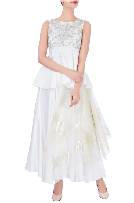 Buy white foil print layered skirt online in USA with embroidered blouse. Grab those eyeballs at special occasions with an exclusive range of Indian dresses, designer lehengas from Pure Elegance Indian fashion store in USA or shop online.-full view