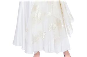 Buy white foil print layered skirt online in USA with embroidered blouse. Grab those eyeballs at special occasions with an exclusive range of Indian dresses, designer lehengas from Pure Elegance Indian fashion store in USA or shop online.-skirt