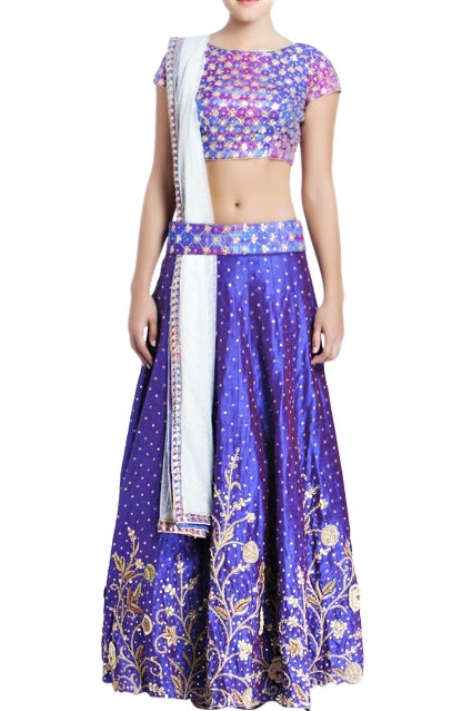 Buy blue & purple raw silk embroidered lehenga online in USA with white net dupatta. Grab those eyeballs at special occasions with an exclusive range of Indian dresses, designer lehengas from Pure Elegance Indian fashion store in USA or shop online.-full view