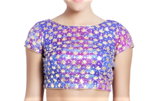 Buy blue & purple raw silk embroidered lehenga online in USA with white net dupatta. Grab those eyeballs at special occasions with an exclusive range of Indian dresses, designer lehengas from Pure Elegance Indian fashion store in USA or shop online.-blouse