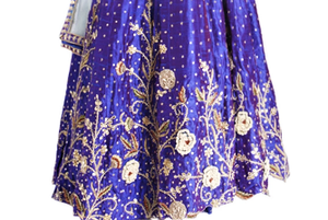 Buy blue & purple raw silk embroidered lehenga online in USA with white net dupatta. Grab those eyeballs at special occasions with an exclusive range of Indian dresses, designer lehengas from Pure Elegance Indian fashion store in USA or shop online.-skirt