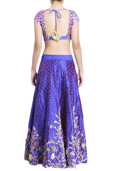 Buy blue & purple raw silk embroidered lehenga online in USA with white net dupatta. Grab those eyeballs at special occasions with an exclusive range of Indian dresses, designer lehengas from Pure Elegance Indian fashion store in USA or shop online.-back