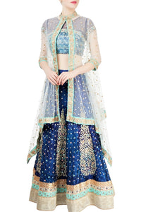 Buy captivating indigo raw silk hand embroidery lehenga with cape online in USA. Grab those eyeballs at special occasions with an exclusive range of Indian dresses, designer lehengas from Pure Elegance Indian fashion store in USA or shop online.-full view