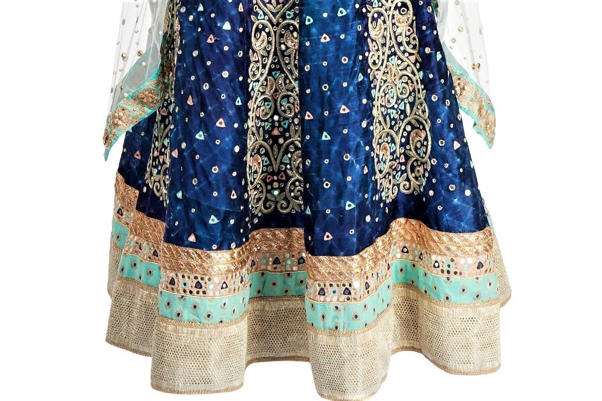 Buy captivating indigo raw silk hand embroidery lehenga with cape online in USA. Grab those eyeballs at special occasions with an exclusive range of Indian dresses, designer lehengas from Pure Elegance Indian fashion store in USA or shop online.-skirt