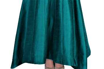 Shop green train lehenga with embroidered cold shoulder blouse online in USA. Grab those eyeballs at special occasions with an exclusive range of Indian dresses, designer lehengas from Pure Elegance Indian fashion store in USA or shop online.-skirt