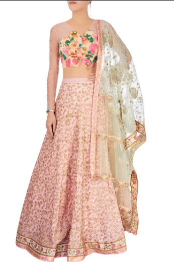 Shop dusty pink & pastel green embroidered raw silk lehenga online in USA. Grab those eyeballs at special occasions with an exclusive range of Indian dresses, designer lehengas from Pure Elegance Indian fashion store in USA or shop online.-full view