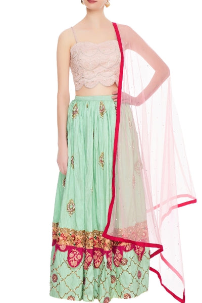 Buy beautiful mint green raw silk lehenga with pink chanderi blouse online in USA. Give a touch of elegance to your style with an exclusive range of Indian formal dresses, designer lehengas, Anarkali dresses from Pure Elegance Indian fashion store in USA or shop online.-full view