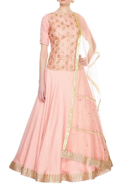 Buy peach backless kurta lehenga set online in USA with gota patti embroidery. Sizzle in beautiful Indian formal dresses, designer lehengas, Indowestern dresses from Pure Elegance Indian fashion store in USA or shop online.-full view
