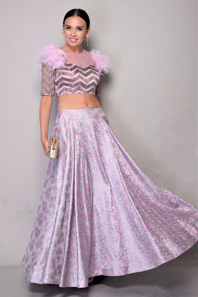 Buy Mauve Tanchoi Skirt with Embroidered Top online in USA. Bring glamor to your wedding look with elegant designer wedding gowns, wedding dresses available at Pure Elegance Indian clothing store for women in USA or shop online.-full view