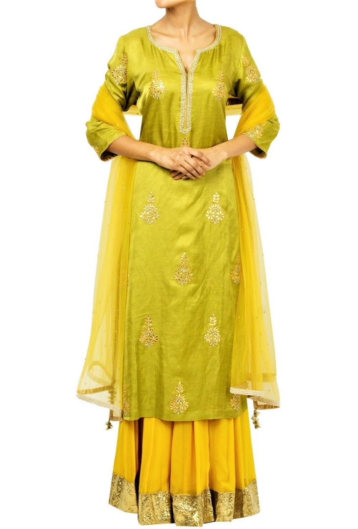Buy green gota patti embroidery kurta with yellow skirt online in USA. Shine with rich ethnic outfits at weddings and special occasions from Pure Elegance clothing store in USA. A beautiful collection of Indian designer dresses, wedding lehengas, wedding sarees, and much more is waiting for you on online and in our store.-full view