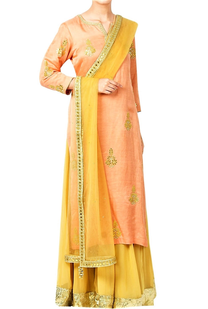 Buy peach gota patti embroidery kurta with gold color skirt online in USA. Shine with rich ethnic outfits at weddings and special occasions from Pure Elegance clothing store in USA. A beautiful collection of Indian designer dresses, wedding lehengas, party dresses, and much more is waiting for you on online and in our store.-full view