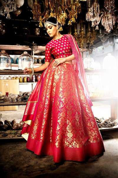 Buy ombre pink red Banarasi lehenga online in USA with dupatta. Shine with rich ethnic outfits at weddings and special occasions from Pure Elegance clothing store in USA. An exquisite collection of Indian designer dresses, wedding lehengas, party dresses, and much more is waiting for you on online and in our store.-full view