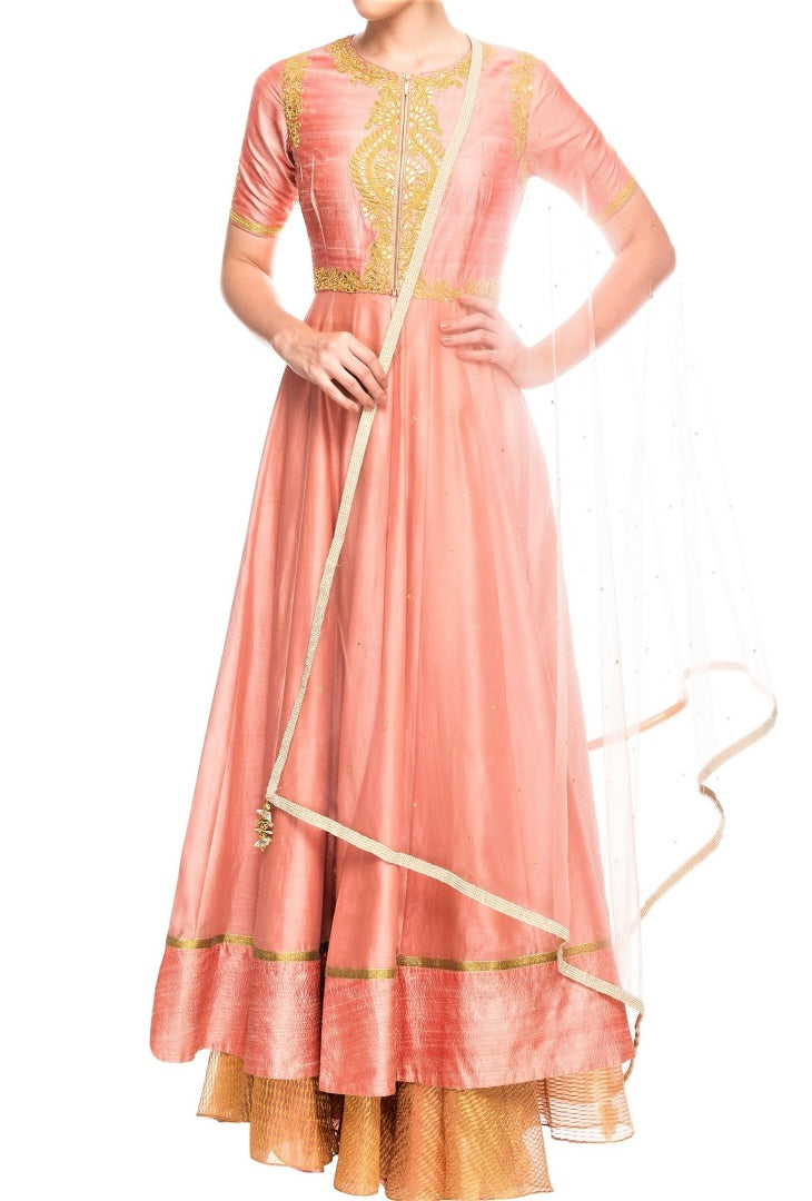 Buy peach gota patti embroidery Anarkali skirt set online in USA with dupatta. Shine with rich ethnic outfits at weddings and special occasions from Pure Elegance clothing store in USA. An exquisite collection of Indian designer dresses, wedding lehengas, party dresses, and much more is waiting for you on online and in our store.-full view
