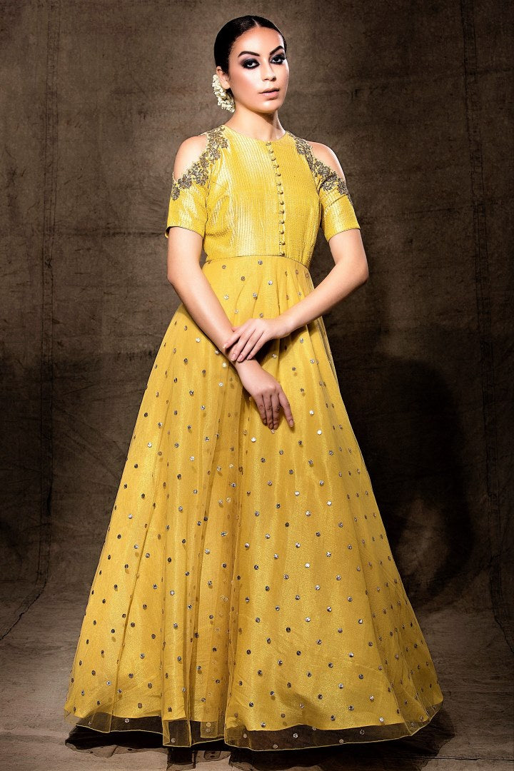 Buy elegant yellow embroidered cold shoulder Anarkali online in USA with dupatta. Shine with rich ethnic outfits at weddings and special occasions from Pure Elegance clothing store in USA. An exquisite collection of Indian designer dresses, wedding lehengas, party dresses, and much more is waiting for you on online and in our store.-full view