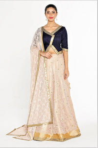 5165879009 Shop designer beige layered lace lehenga online in USA with blue choli at  Pure Elegance online